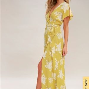 Yellow Floral Wrap Maxi Dress